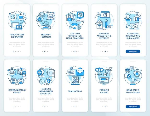 Blauer onboarding-seitenbildschirm der mobilen app der digitalen inklusion mit festgelegten konzepten. exemplarische anleitung zur digitalisierung 5 schritte grafische anleitung.