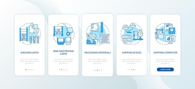Blauer onboarding-seitenbildschirm der mobilen app der lagerverwaltung mit konzepten