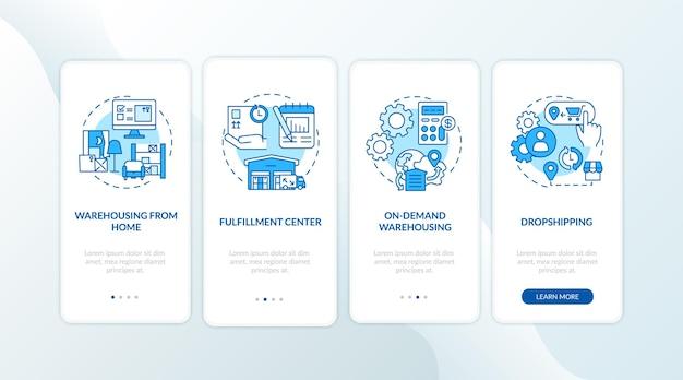 Blauer onboarding-seitenbildschirm der mobilen app für warehouse-kundendienst mit konzepten