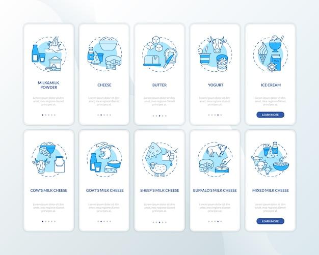 Blauer onboarding-seitenbildschirm der mobilen industrie der milchindustrie mit festgelegten konzepten