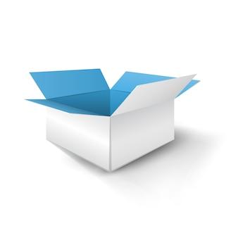 Blauer papierkasten mit schatten