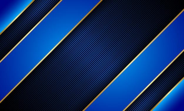 Blauer papierschnitt mit goldener linie auf dunklem hintergrund der linien. luxuriöses design für ihre website.