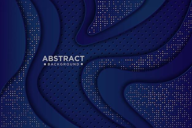 Blauer papierschnitthintergrund. abstrakte realistische papierschnittdekoration mit wellenschichten und goldweißem glitzern. 3d-topographie-relief.