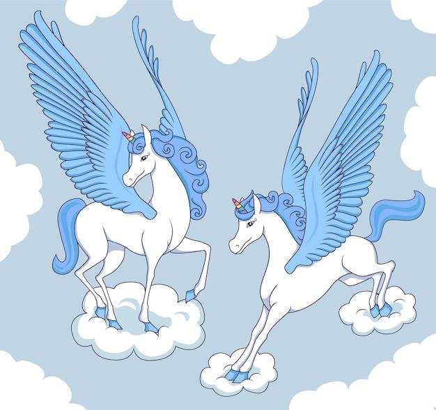 Blauer pegasus auf wolken