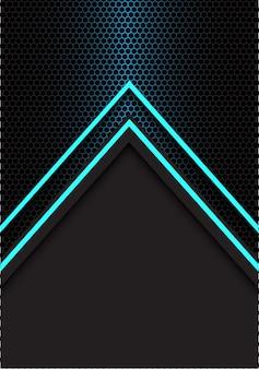Blauer pfeillichtrichtungs-hexagonmaschen-schwarzhintergrund.