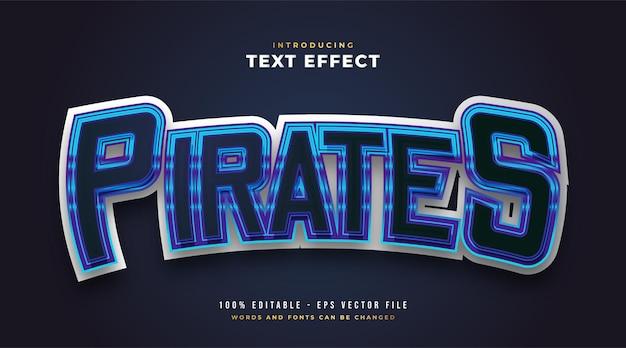 Blauer piraten-text im e-sport-stil mit gebogenem effekt. bearbeitbarer textstileffekt