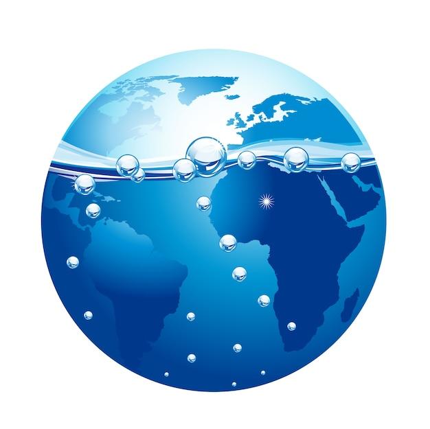 Blauer planet mit wasser und blase isoliert