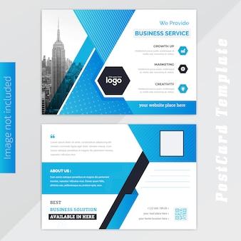 Blauer postkartenentwurf