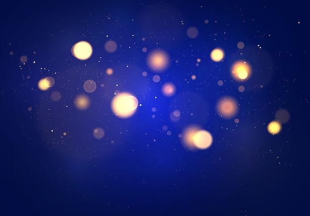 Blauer, purpurroter und goldener leuchtender hintergrund, lichter bokeh