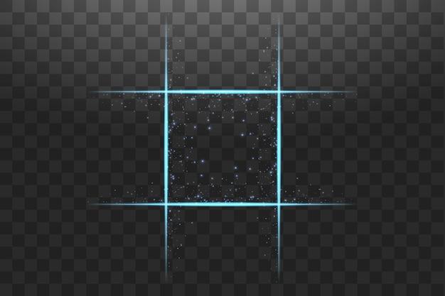 Blauer quadratischer rahmen mit lichteffekten.