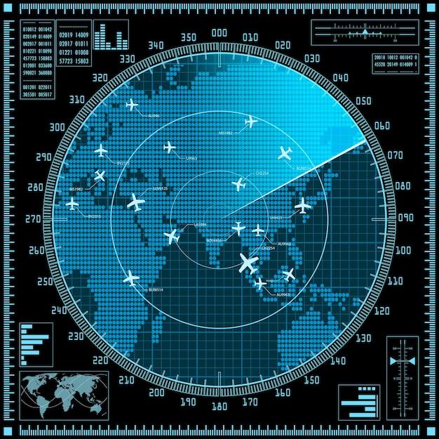 Blauer radarbildschirm mit flugzeugen und weltkarte
