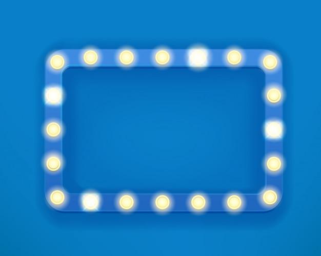 Blauer rahmen der weinlese mit hellen glühlampen. heller retro-rahmen