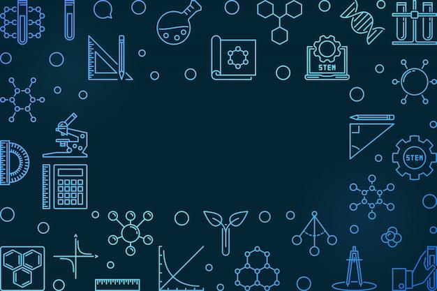Blauer rahmen für wissenschaft, technologie, technik und mathematik
