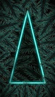 Blauer rahmen in form eines dreieckigen neonbaums