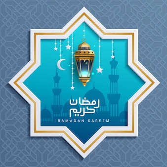 Blauer ramadan kareem greeting background mit goldlaterne