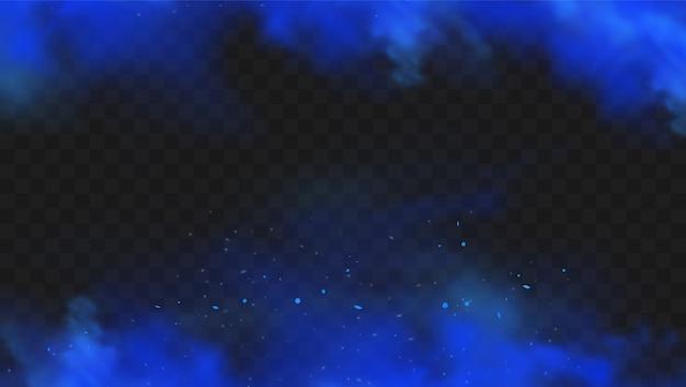 Blauer rauch isoliert. realistische blaue magische nebelwolke, chemisches giftiges gas, dampfwellen.