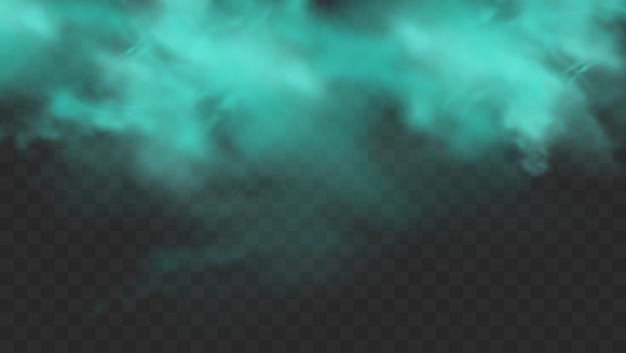 Blauer rauch lokalisiert auf dunklem transparentem hintergrund. realistische blaue magische nebelwolke, chemisches giftiges gas, dampfwellen. realistische illustration