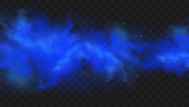 Blauer rauch lokalisiert auf dunklem transparentem hintergrund. realistische blaue magische nebelwolke, chemisches giftiges gas, dampfwellen. realistische illustration.