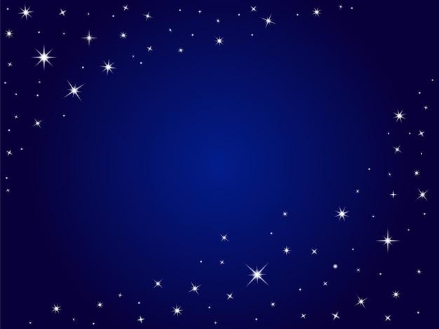 Blauer raum spielt vektorhintergrund, nächtlichen himmel die hauptrolle
