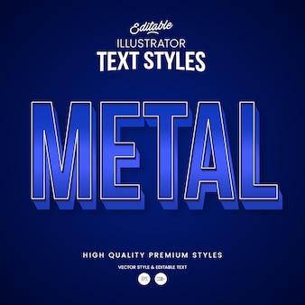 Blauer realistischer metallverlauf moderner abstrakter texteffekt bearbeitbarer grafikstil