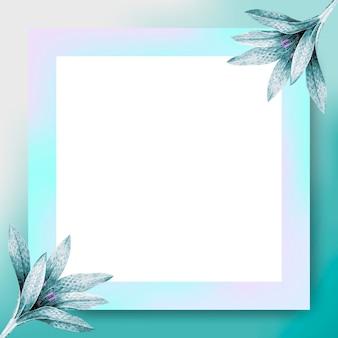 Blauer rechteckiger blumenrahmen