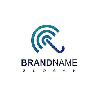 Blauer regenschirm-logo-design-vorlage mit liniensymbol