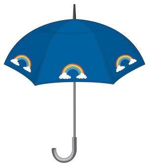 Blauer regenschirm mit regenbogenmuster