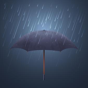 Blauer regenschirm und herbstregen. kühle wassersturm- und nachthimmelschutzillustration. sonnenschirmschutz vor stürmischem regen