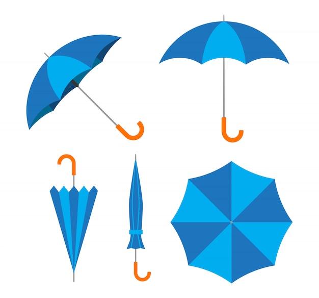 Blauer regenschirmvektor eingestellt auf weißen hintergrund