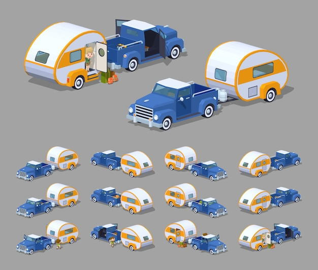 Blauer retro-pickup mit orange-weißem wohnmobil.