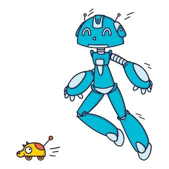 Blauer roboter, der aufholjagd mit einem spielzeug spielt.