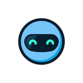 Blauer robotermaskottchenlogo-ikonenvektor