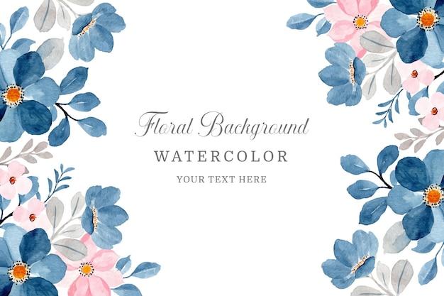 Blauer rosa blumenhintergrund mit aquarell
