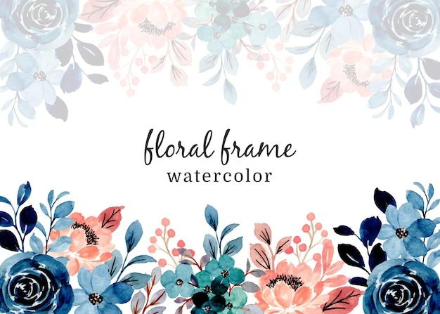 Blauer rosa blumenrahmen mit aquarell