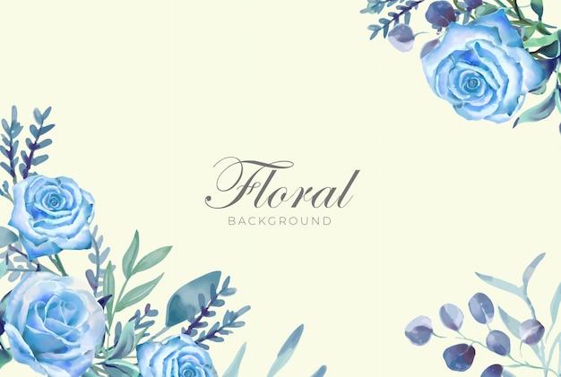 Blauer rosen-aquarell-hintergrund