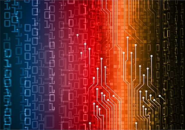 Blauer roter orange cyberschaltung zukünftiger technologiekonzepthintergrund