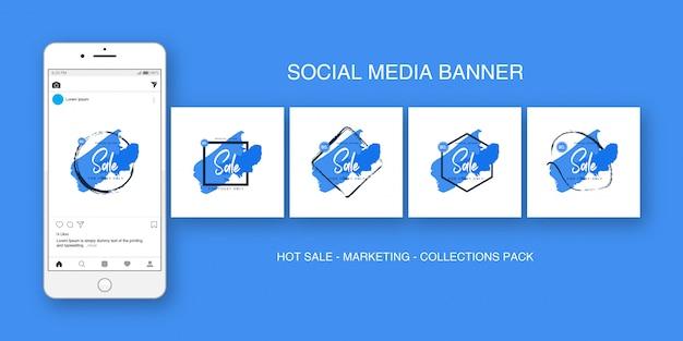 Blauer sammlungssatz des social media-banner instagram