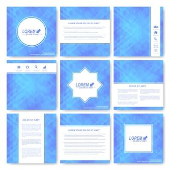Blauer satz der quadratischen schablonenbroschüre. wirtschaft, wissenschaft, medizin und technologie