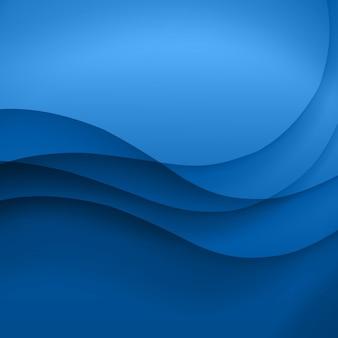 Blauer schablonen-abstrakter hintergrund mit kurvenlinien und schatten. für flyer, broschüre, broschüre, website-design