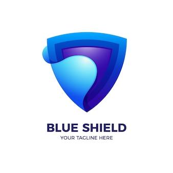 Blauer schild in der farbverlaufs-3d-logo-vorlage