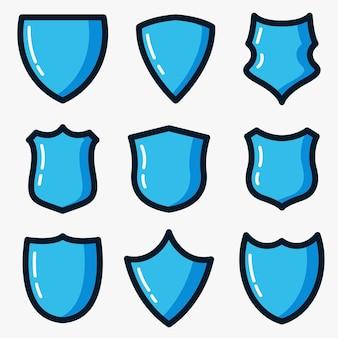 Blauer schild-vektor-icon-set