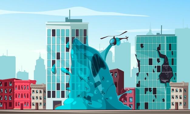 Blauer schleim-alien, der stadt angreift und hubschrauberkarikaturillustration hält