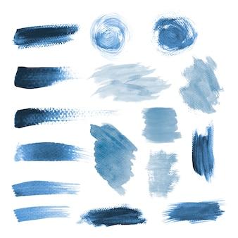 Blauer schmutzpinselstrich-vektorsatz