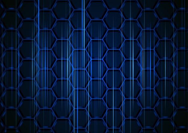 Blauer sechseckiger hintergrund mit hellen streifen