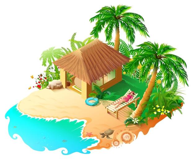 Blauer see des strandurlaubs, goldener sand der grünen palmen.