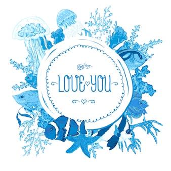 Blauer seeleben weinlese-runder rahmen mit fischen und meerespflanze.