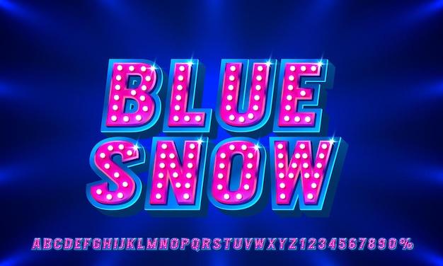 Blauer show-schriftsatz sammlung buchstaben und zahlen symbol vektor