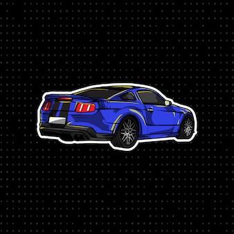 Blauer sport-coupé-handabgehobener betrag