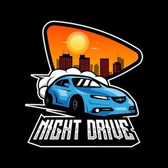 Blauer sportwagen isoliert auf schwarzem vektor für nachtfahrclub