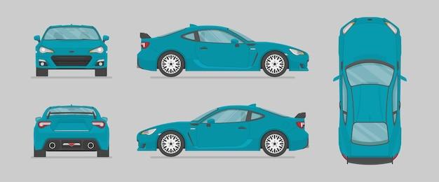 Blauer sportwagen von verschiedenen seiten